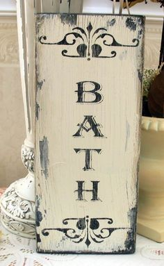 BATH shabby sign Powder room cottage chic by SignsByDiane on Etsy, $17.95