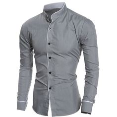 Edging Design Long Sleeve Grandad Collar Shirt ($10) ❤ liked on Polyvore featuring men's fashion, men's clothing, men's shirts, men's casual shirts, men, shirts, long sleeves, rosegal, mens longsleeve shirts and mens collared shirts
