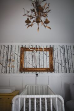Woodland Fairy Tale Nursery - love the woodland wallpaper and framed faux taxidermy for a chic look!