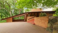 Situated on a large private and wooded lot in St. Louis Park, Minnesota is this family home designed by Frank Lloyd Wright. This wonderful family home, while not typical of what some would considered Wright's true Usonian style, the home does feature several of the signature earmarks of a classic Wright house.