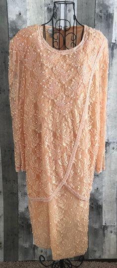 VTG Beaded Drama Lace Embellished Dress Peach Draped Mid Calf Plus Size NWOT #BeadedDrama #Dress