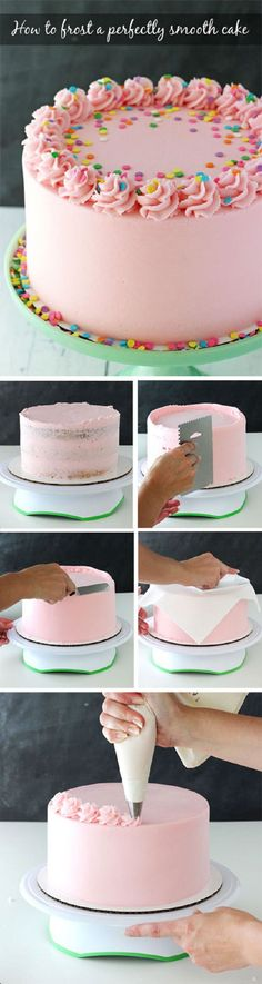 Tutorial for how to frost a perfectly smooth cake with buttercream icing! Images and animated gifs with detailed instructions! Tutorial for how to frost a perfectly smooth cake with buttercream icing! Images and animated gifs with detailed instructions! Food Cakes, Cupcake Cakes, Icing Cupcakes, Cake Decorating Tips, Cookie Decorating, Frosting Recipes, Cake Recipes, Frosting Tips, Dessert Recipes