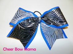 Black & White Swirls on Blue Cheer Bow by Cheer Bow Mama