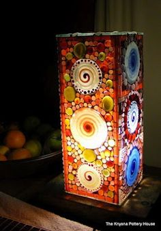 Mandala Mosaic lamp.  post on making ceramic leaves also