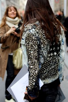 crazy studded and safety pinned denim jacket...... #DIY