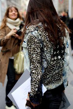 crazy studded and safety pinned denim jacket...... #DIY