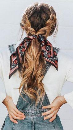 Scarf Hairstyles, Cute Hairstyles, Wedding Hairstyles, Hairstyle Ideas, Bangs Hairstyle, Amazing Hairstyles, Hairstyles 2018, Perfect Hairstyle, Bohemian Hairstyles