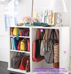 purses organization in closet