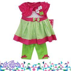 ¡Una #Nena #Hermosa y a la #Moda! #Conjunto #Vestido #Recien #Nacidos 3er.Piso
