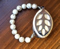 Howlite beaded bracelet for the LEAF by LadyLeafCo on Etsy