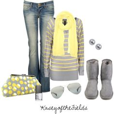 Yellow and grey outfit. I love this!!!