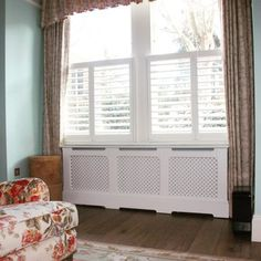 Chiltern Ready Made Radiator Cabinet. Supplied with a diamond grille, skirting board cutout, fully finished in a sprayed white lacquer. Traditional Radiators, Floating Cabinets, Radiator Cover, Paint Finishes, Cabinet Design, Bespoke, Luxury Homes, Hardwood, Home Appliances