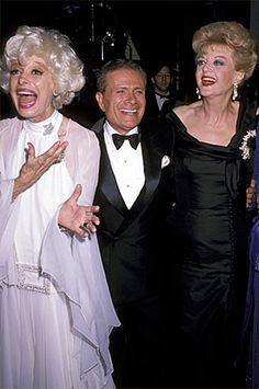 Jerry Herman flanked by Carol Channing (left) and Angela Lansbury at the 1989 Tony Awards.  Photo: Ron Galella/Wireimage.com