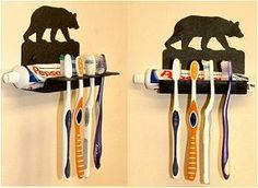 The Big Red Neck Trading Post - Wildlife Decor Lodge Decor Rustic Metal Toothbrush Holders, $24.00 (http://www.thebigrednecktradingpost.com/products/wildlife-decor-lodge-decor-rustic-metal-toothbrush-holders.html)