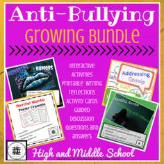 This growing anti-bullying bundle provides a multitude of ways to address bullying with your students. There are four separate lesson plans, and this bundle includes: • 4 Step-by-step activity directions • 4 Interactive activities • Essential question(s) • 4 sets of guided discussion questions and answers • 2 Activity cards • 1 Story key • 4 printable activity reflections