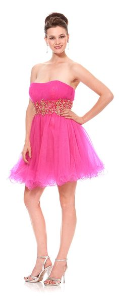 Short Prom dress in color FUCHSIA/PINK & more - Strapless - Plus Size available. - $79