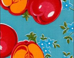 Oilcloth By The Yard Retro Apple Cool Blue