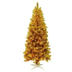 7ft Pre-Lit Artificial Christmas Tree Gold Tinsel - Clear Lights