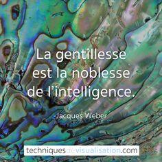 Techniques de Visualisation - Citation - Jacques Weber - La gentillesse est la noblesse de l'intelligence. #citation #inspirante #positive #gentillesse