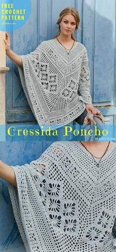 Free Crochet Pattern - Cressida Poncho - Crochet → Poncho, Neck, Torso | size: S/M – L/XL – XXL/XXXL | Written in PDF | UK Terms Level: upper beginner yarn: Garnstudio DROPS Paris hook: 4.5 mm Author: by Drops Design #FreeCrochetPattern # CressidaPoncho #CrochetPoncho