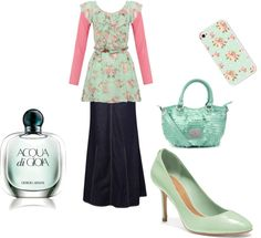"""""""mint floral"""" by arkgirl ❤ liked on Polyvore"""