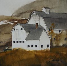 White and Gold  by Joseph Alleman  www.josephalleman.com  This small watercolor has beautiful contrasts in the artist's use of soft edges and color in the natural landscape while retaining the white of the paper and hard edges in the buildings.  I love the richness and cohesion of the limited palette, too.