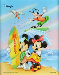 8x10 Mickey Mouse Minnie Goofy Surfing Disney Movie Poster Print RARE