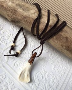 Mens leather necklace with pendant buffalo tooth by crushedcameo