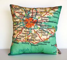 Vintage map pillows.