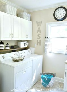 Amazing laundry room makeover by Worthing Court blog with rustic and farmhouse touches and organizational tips and inspiration.