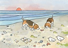 Beagles Beach 5x7 Limited Edition Print by studiotuesday on Etsy, $22.00