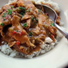 This is a Louisiana classic! Don't forget to cook up some long-grain white rice for serving -- a nice crusty piece of French bread would be right at home as well. Louisiana Recipes, Cajun Recipes, Barbecue Recipes, Entree Recipes, Chicken Recipes, Cooking Recipes, Haitian Recipes, Cajun Food, Donut Recipes