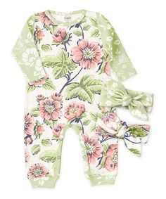 $14.99 marked down from $30.95! Rose Garden & Prim Flower Playsuit & Headbands Set - Infant #baby #zulily #zulilyfinds