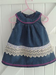 BABY BLUES up-cycled denim dress 'Ribbon  Lace' 6-12 mths        £12.50