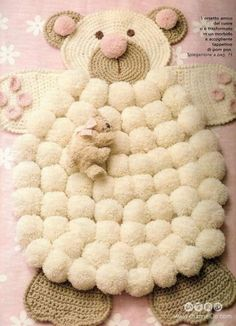 This Pom Pom Sheepskin Rug will look fabulous in your home and will be the focal point of any room you put it in! It's fun to make and doesn't it look great. Tutorial via 'Bella Dina' Sheep Pom Pom Rug Tutorial Crochet Bear, Crochet Home, Free Crochet, Easy Crochet, Free Knitting, Pom Pom Animals, Bear Rug, Bear Blanket, Pom Pom Rug