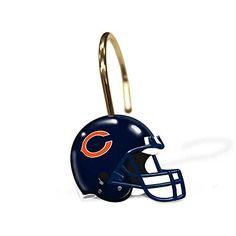 Chicago Bears NFL Bathroom Shower Curtain Hooks Rings Set * For more information, visit image link.