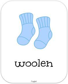 clothes, socks, woolen, flashcards, describing, adjectives