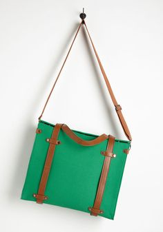 Camp Director Tote in Grass. Before the cabins open for the season, you spring into action, planning every new building, activity, and outdoor event that will make a splash. #green #modcloth