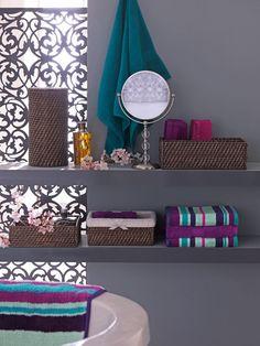turquoise and purple bathroom | purple & turquoise