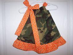 Girls camo pillowcase dress with ruffle infant thru 6 years green camo orange white dots by RaDzaeDezynes