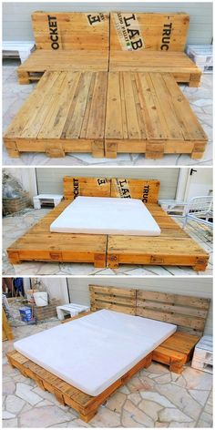 Here in the very first picture, we are going to make you show out the artistic designing of the wooden pallet bed. There is something really incredible in this project. You can easily use this recycle Pallet Furniture Bed, Diy Pallet Sofa, Wooden Pallet Projects, Wooden Pallet Furniture, Rustic Furniture, Pallet Ideas, Wood Pallets, Balcony Furniture, Furniture Making