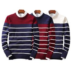 SALE 2017 Autumn Winter NEW Men Sweater Striped Pull Homme Pullover Men Casual Leisure Jersey Hombre Cotton Plus Size