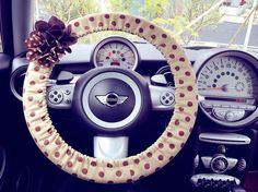 Car Steering wheel cover-Khaki Polka Dots with Chiffon Flower, Unique Automobile Accessories, Car Decor, Automobile Wheel cover on Etsy, $16.00