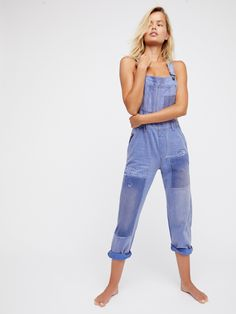 We The Free Blue Majesty Slouchy Patched Boyfriend Overalls at Free People Clothing Boutique