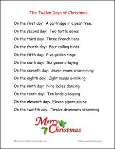 It is a photo of Ridiculous 12 Days of Christmas Song Lyrics Printable