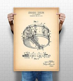 Snare drum patent poster dyna sonic big band drum art drummer snare drum patent poster dyna sonic big band drum art drummer gift pp1018 drums printing and etsy malvernweather Gallery