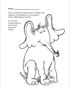 Thidwick big hearted moose coloring pages coloring page for Dr seuss coloring pages horton hears a who