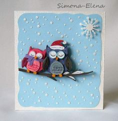 Quilled Christmastime owls made by Simona-Elena