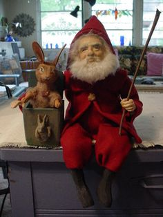 """Norma DeCamp  14"""" Santa, rabbit jack in box. Santa is all in a lovely red. SOLD FOR $816."""