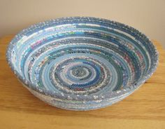 Periwinkle Blues Large Round Coiled Bowl / by PrairieThreads, $40.00